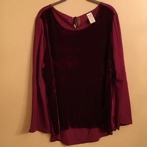 Faded Glory Velvet top with bell sleeves